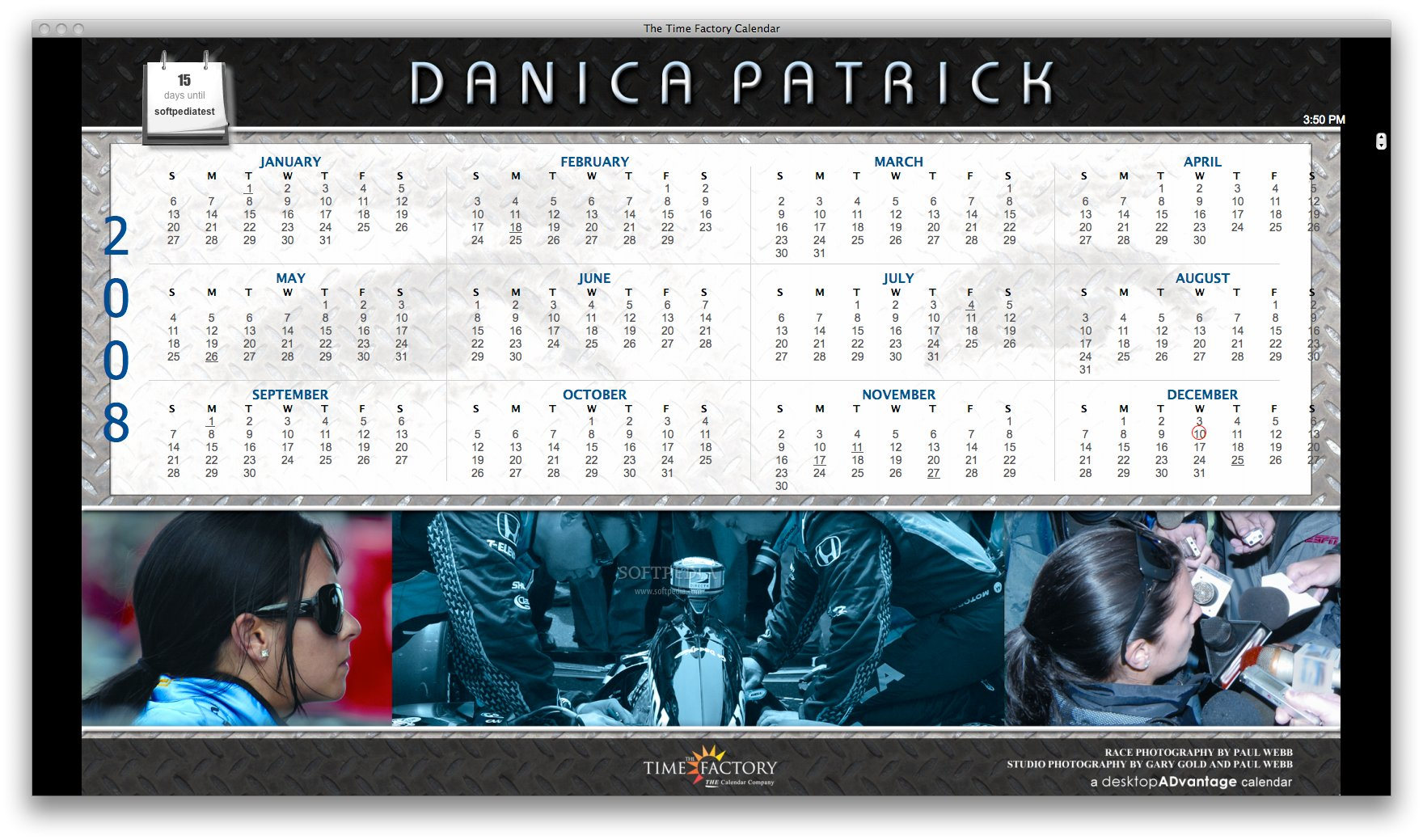 Danica Patrick Calendar screenshot 1 - The main window where you can see images featuring Danica Patrick.