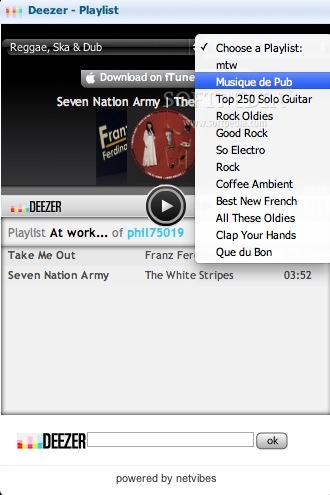 Deezer screenshot 3 - After selecting a playlist you can start listening to music, with a hit on the play button.