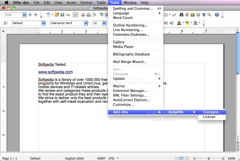 DeltaXML ODT Compare screenshot 1
