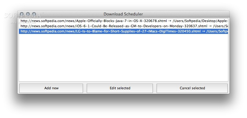 Download Scheduler screenshot 2 - Users can add new links to the download scheduler from the addon's main window.