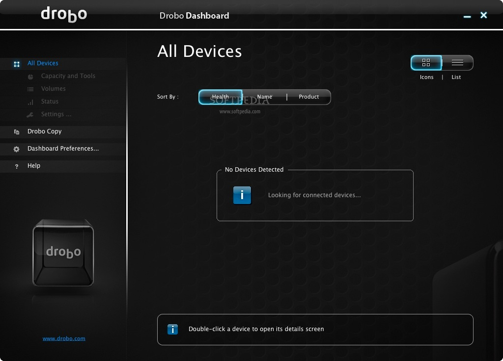 Drobo Dashboard screenshot 1 - This is Drobo's interface where users will be able to manage their digital content.