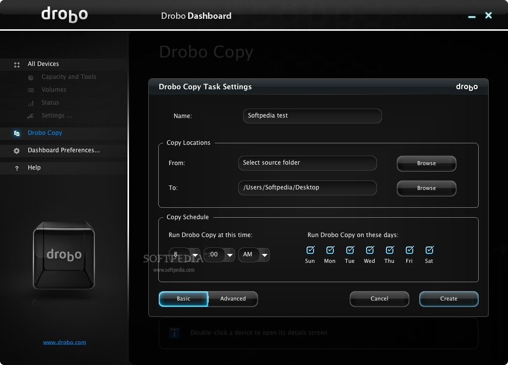 Drobo Dashboard screenshot 2 - This is how you can create a Drobo Copy of your data.