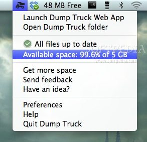 Dump Truck screenshot 1 - You can open the web client as well as the Dump Truck folder from the menu bar client.