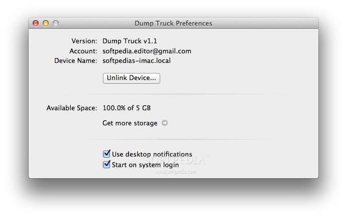 Dump Truck screenshot 3 - In the Preferences window you can customize application options and view the amount of available space.