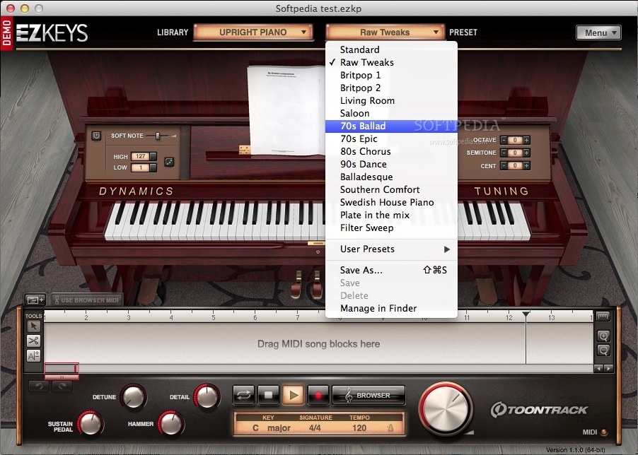 EZkeys Upright Piano screenshot 2 - Choose a raw tweak from this drop-down menu.