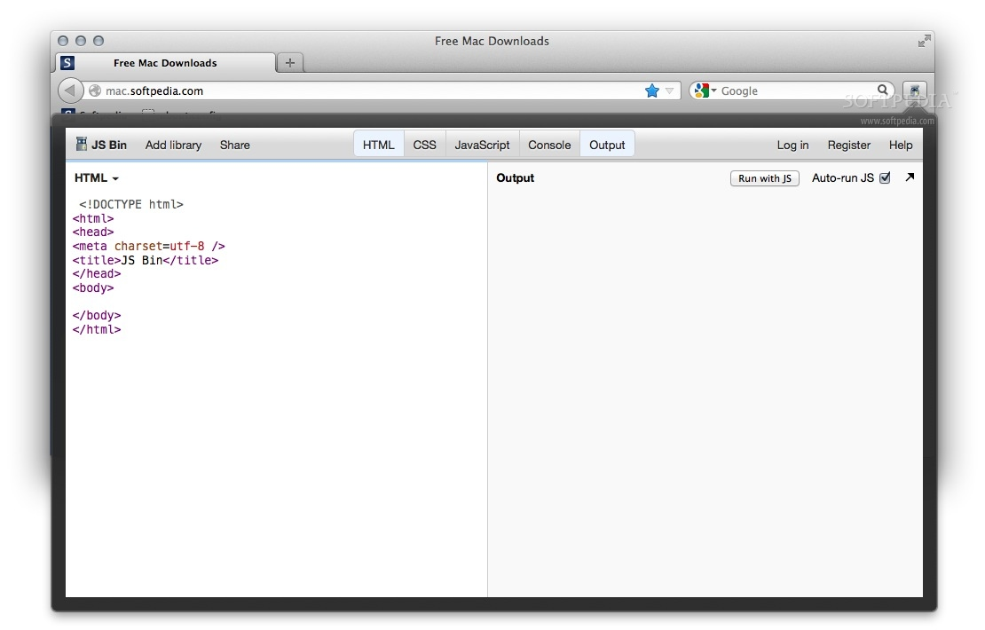 Easy JsBin screenshot 1 - You will be able to create and test CSS, JS or HTML code.
