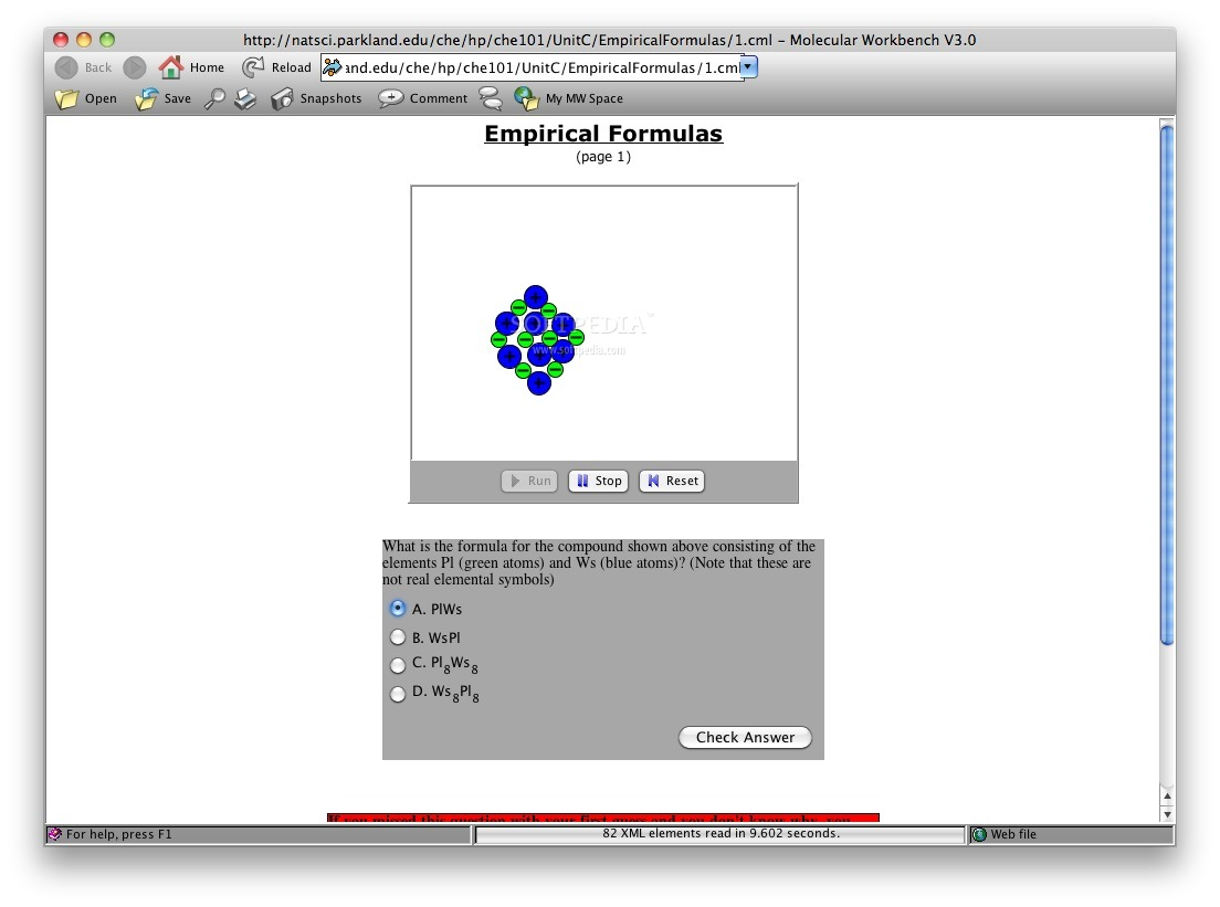 Empirical Formulas screenshot 1 - Here you can study a molecular compound.