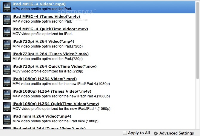 Enolsoft DVD to iPad Converter screenshot 2 - You can choose one of the available output formats from the drop down menu.