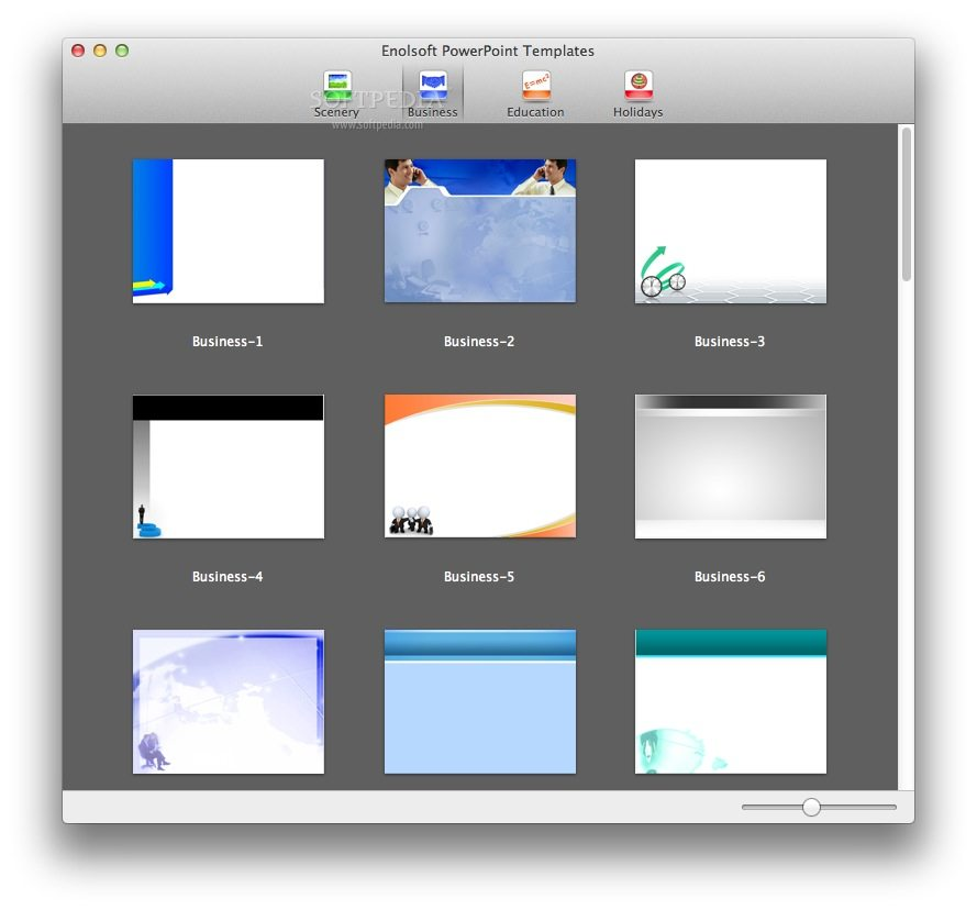 Enolsoft PowerPoint Templates screenshot 2 - Double clicking a template will automatically open PowerPoint and download the template.
