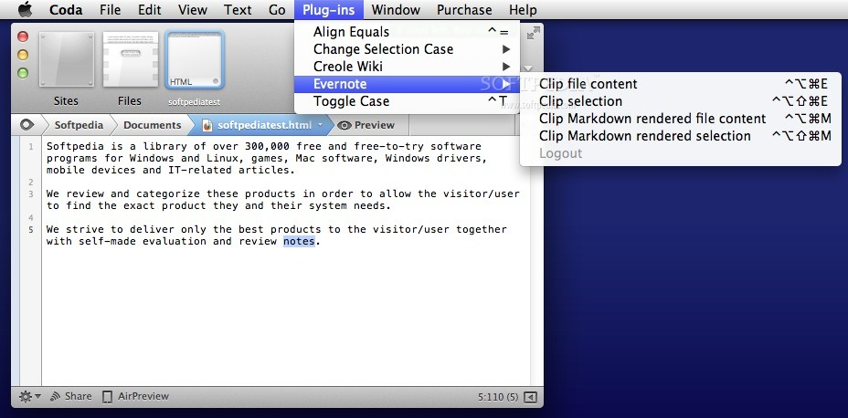Evernote Plug-in screenshot 1 - The Coda Plug-ins menu allows you to access the Evernote related features.