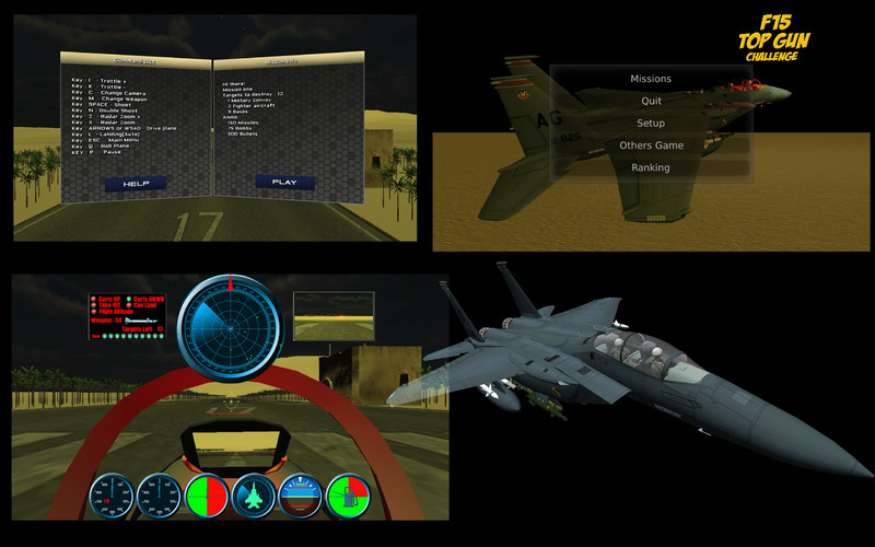 F15 Flying Battle screenshot 2 - Here you can access the main menu and the stats window.