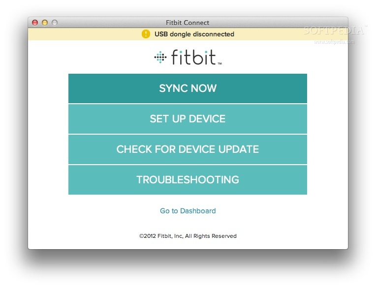 Fitbit Connect screenshot 2 - The main window will enable you to setup your fitbit account or sync your device.