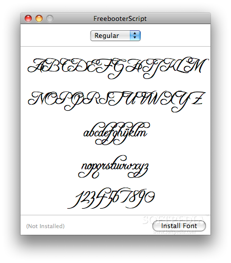 Freebooter Script screenshot 1 - View the font in capital letters, small letters and numbers