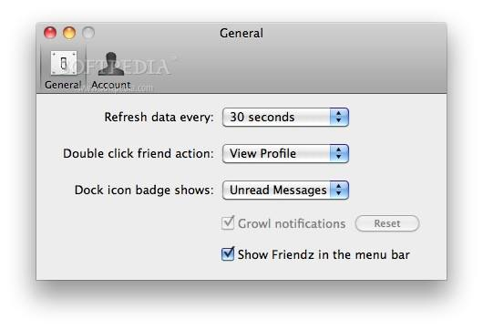 Friendz screenshot 3 - Application preferences can be changed this way.