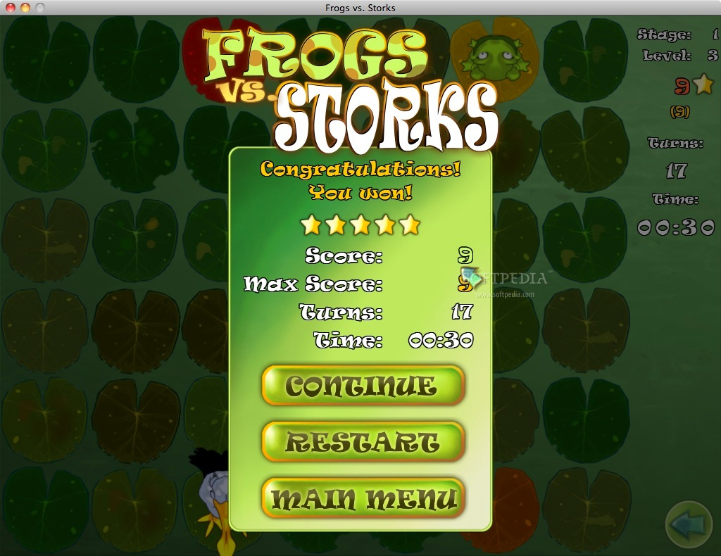Frogs vs Storks screenshot 3 - After each level you can see the statistics.
