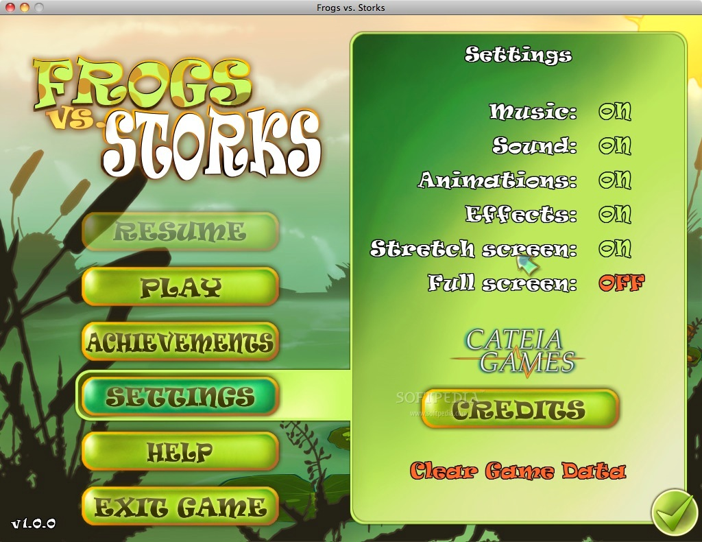 Frogs vs Storks screenshot 5 - The Preferences window where you can choose to play the game in full screen mode.
