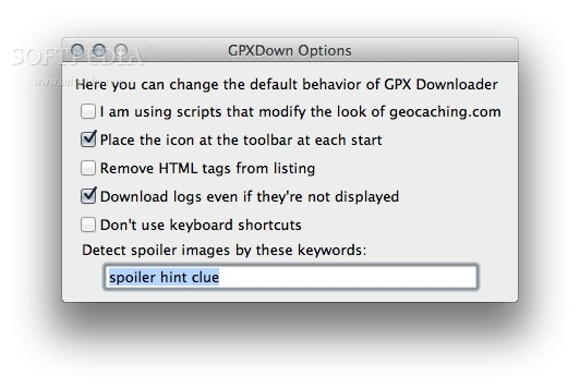 Geocaching.com GPX Downloader screenshot 2 - From the Options window, you can configure the behavior of GPX Downloader in several ways.