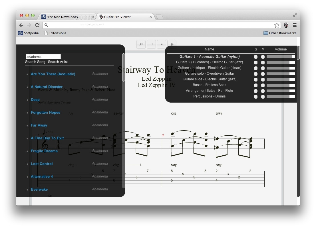 Guitar Tab Viewer screenshot 2 - You can search for songs and change the song volume from the Options page.