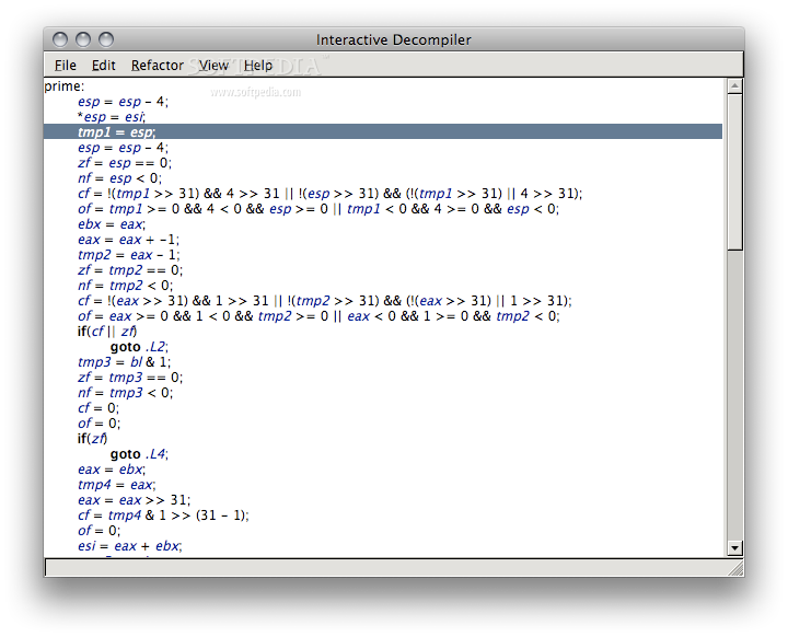 IDC screenshot 1 - This is the main screen of the interactive decompiler.