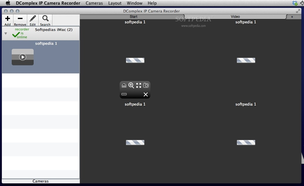 IP Camera Recorder screenshot 2 - In the main window you can view thumbnails for all your connected cameras.