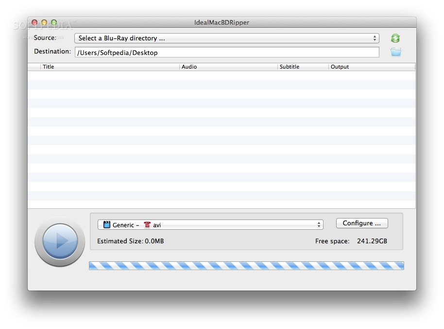 IdealMacBDRipper screenshot 1 - You will be able to read and rip a blu-ray disk.