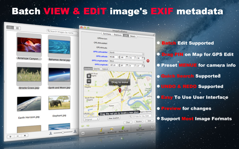 Image Exif Editor screenshot 1 - From the GPS tab, Image Exif Editor's users can easily batch view and edit the EXIF metadata for all selected images.
