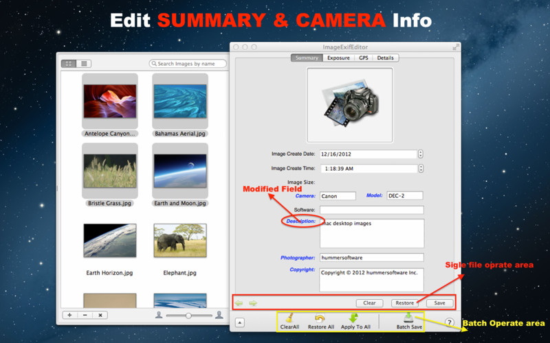 Image Exif Editor screenshot 3 - In the Summary tab of Image Exif Editor's main window, one can easily edit the EXIF camera and summary metadata.