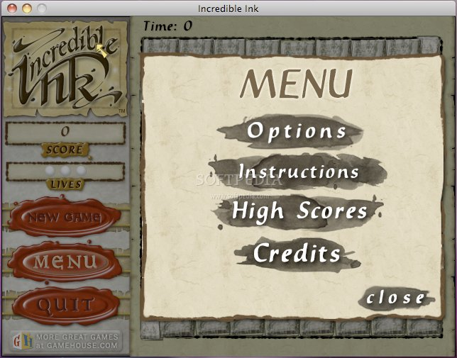 Incredible Ink screenshot 1 - The main menu of Incredible Ink allows you to start the game, view the instructions and change its options.