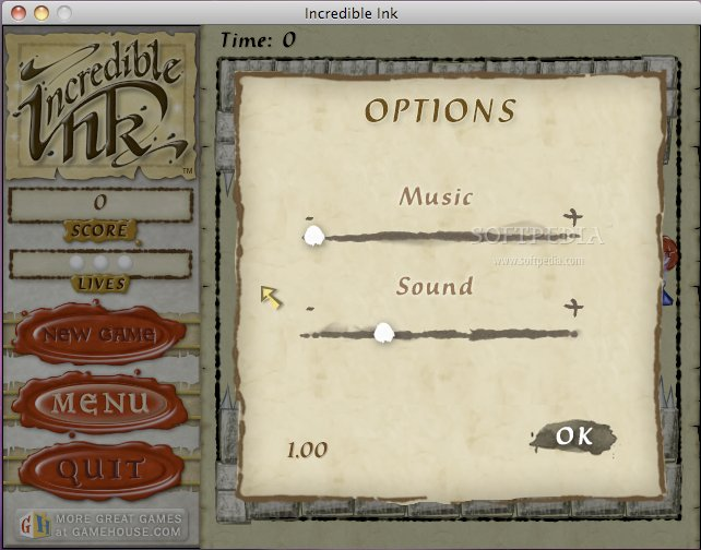 Incredible Ink screenshot 3 - The Options window of the Incredible Ink game enables you to change the music and sound volumes.
