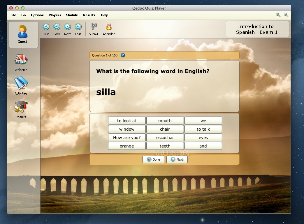 Introduction to Spanish - Exam 1 screenshot 1 - In the main window of the application you can answer to the current question, browse activities and visualize quiz results.