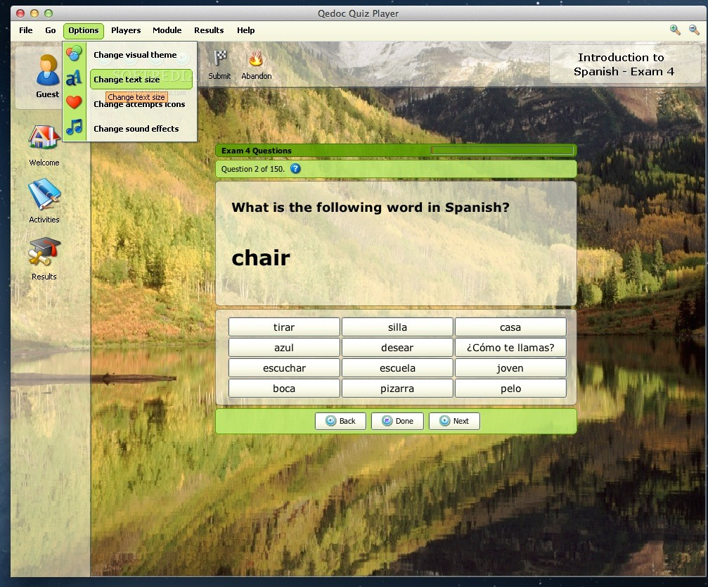 Introduction to Spanish - Exam 4 screenshot 2 - From the Options menu you can customize sounds, icons, visual themes and text size.