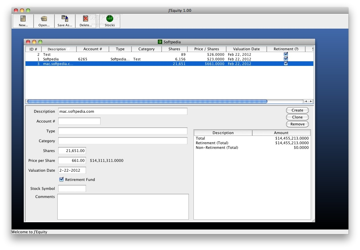 J'Equity screenshot 1 - Here you can add and manage accounts.