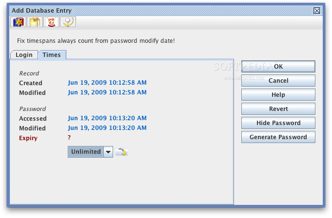 JPasswords screenshot 4 - Times can be viewed here.