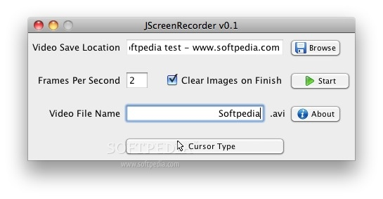 JScreenRecorder screenshot 1 - Here you can choose the save location, the number of frames per second and the  video name.