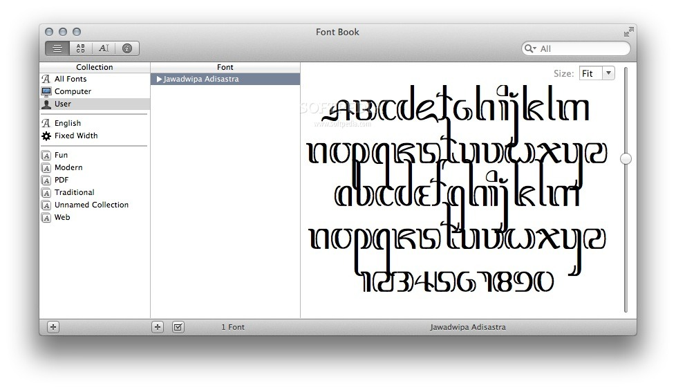 Jawadwipa Adisastra screenshot 1 - You can preview the typeface design in the Font Book main window.