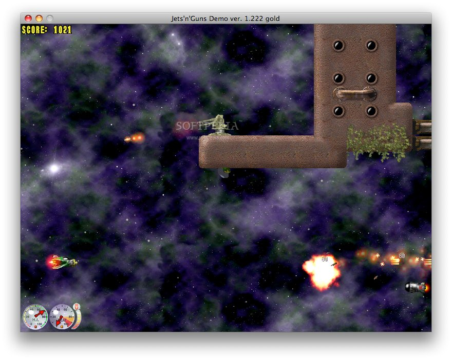 Jets'n'Guns Gold screenshot 1 - The main window where you can see your score.