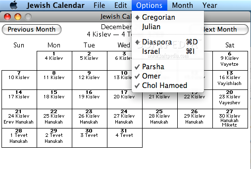 Jewish Calendar Screenshots, screen capture - Softpedia