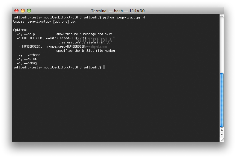 JpegExtract screenshot 1 - The Terminal window presents the usage of the application the available options