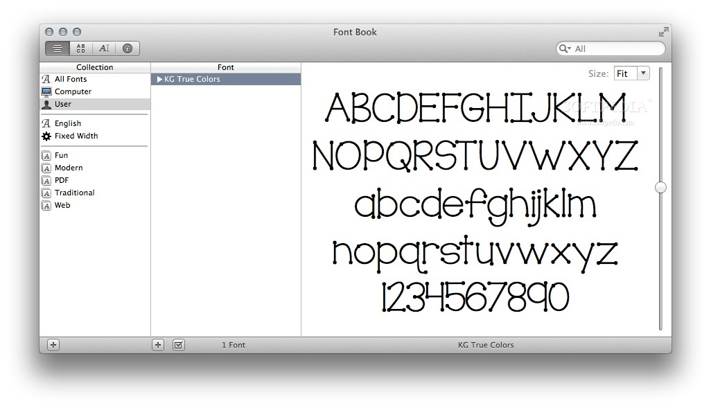 KG True Colors screenshot 1 - The Font Book main window where you can preview the typeface design.
