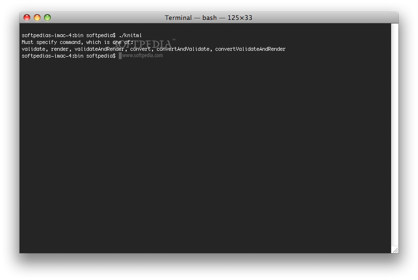 KnitML screenshot 1 - The Terminal window presents the correct usage of the application