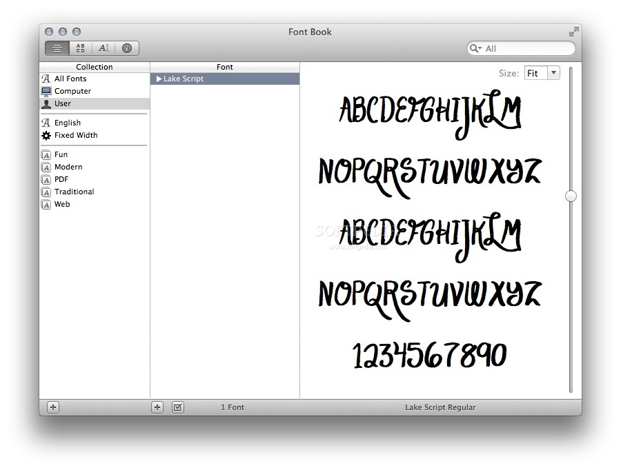 Lake Script screenshot 1 - The Font Book main window where you can preview the typeface design.