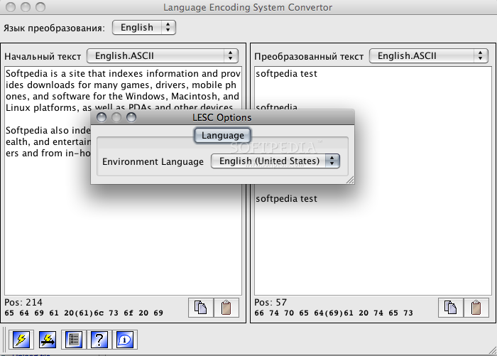 Language Encoding System Converter screenshot 2 - Some options are available here.