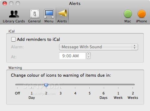 Library Books screenshot 6 - You may also set the default alarm format.