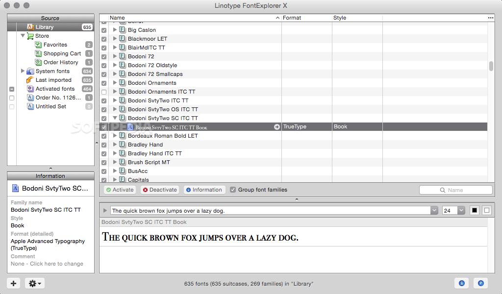 Linotype FontExplorer X Mac 1 2 3 Build 833 - Download
