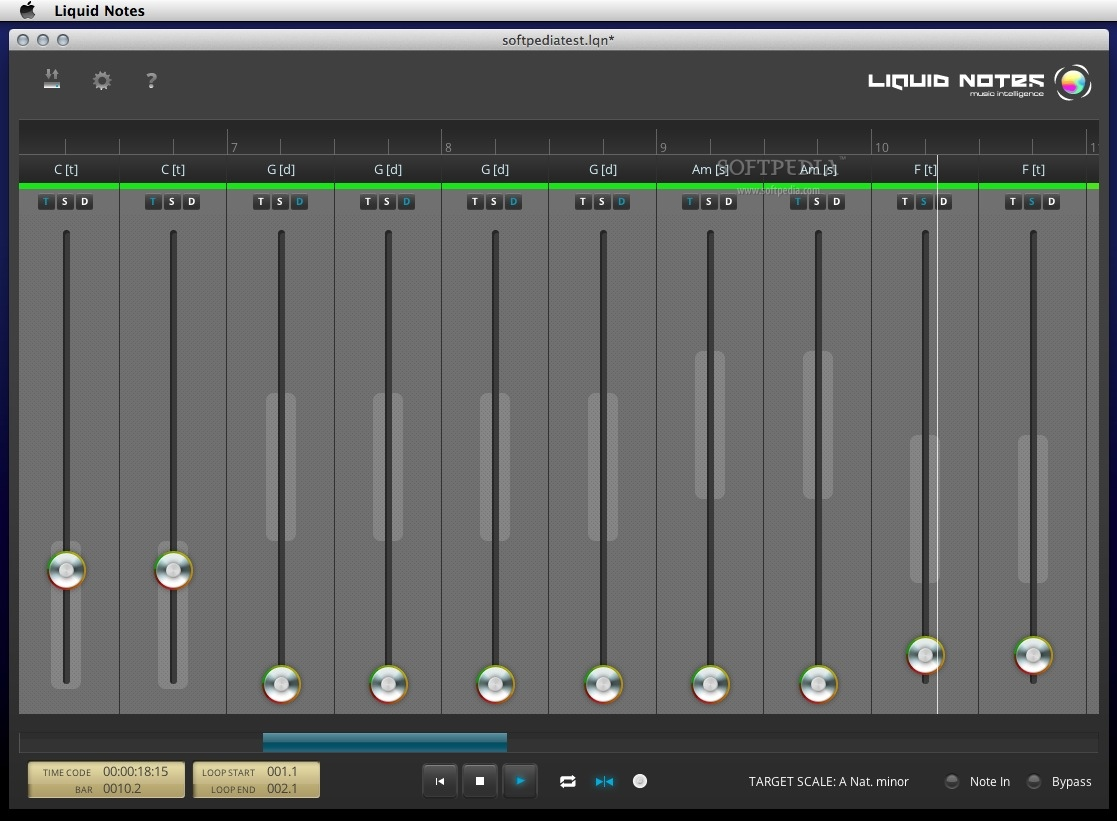 Liquid Notes screenshot 1 - The main window where you can play your composition.