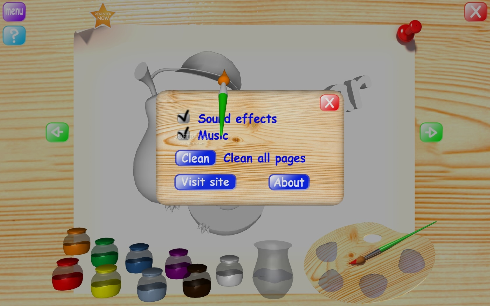 Fruits Coloring Book screenshot 3 - In the Options window you can enable or disable sound effects as well as music.