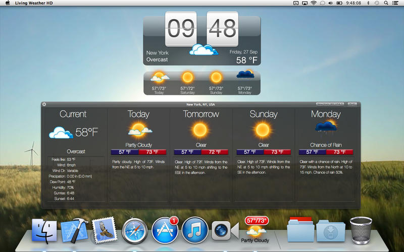 Living Weather HD screenshot 1 - The main window where you can view the weather forecast.