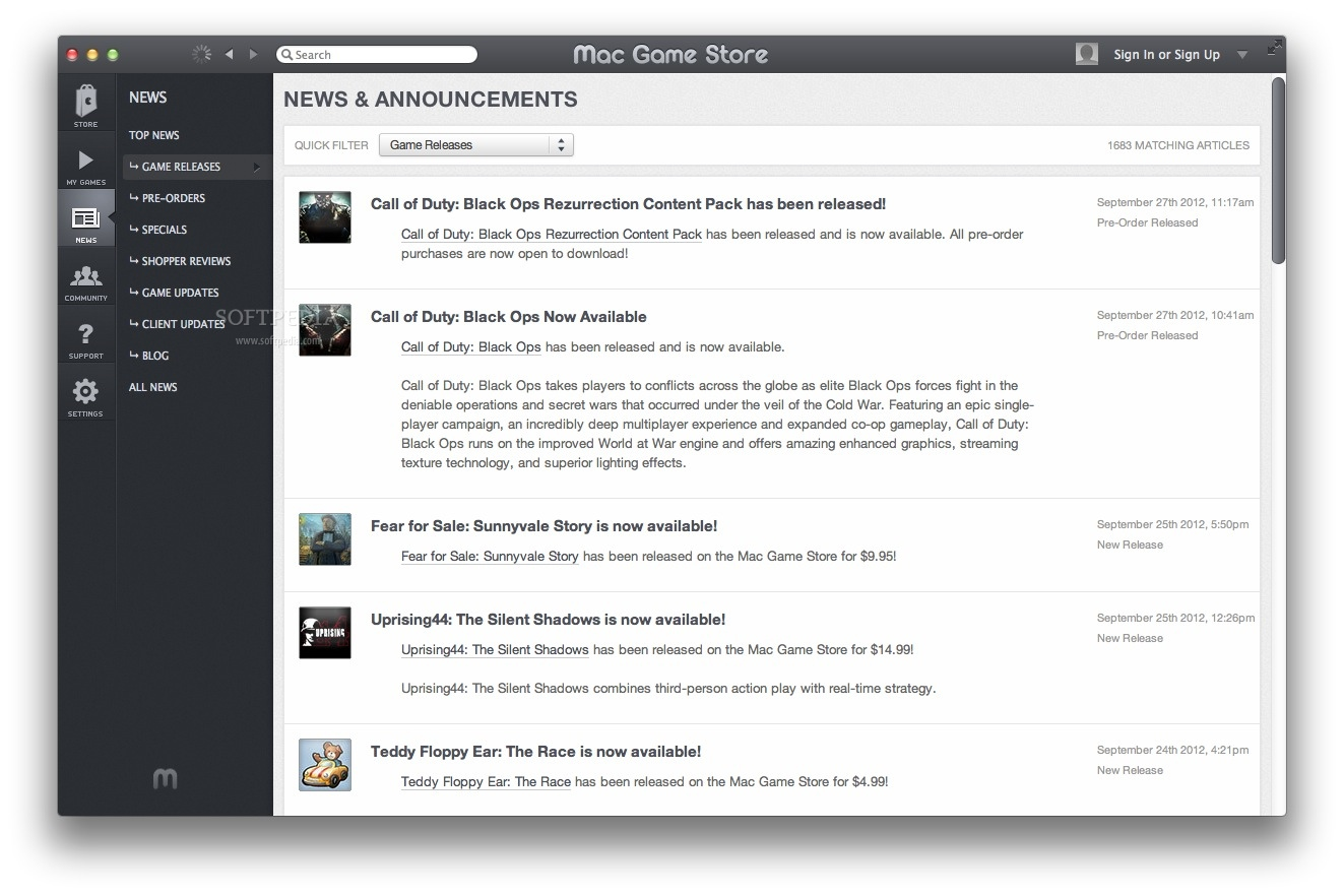 Mac Game Store screenshot 4 - The News panels allows you to view the latest news and sort the articles by different criteria.