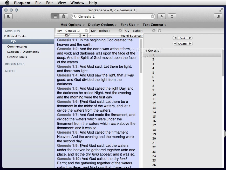 Eloquent screenshot 1 - In the main window you can easily browse the Bible text.
