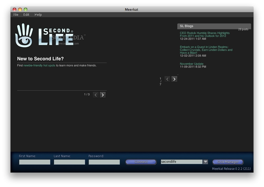 Meerkat screenshot 1 - The main window where you can log in to your Second Life account.